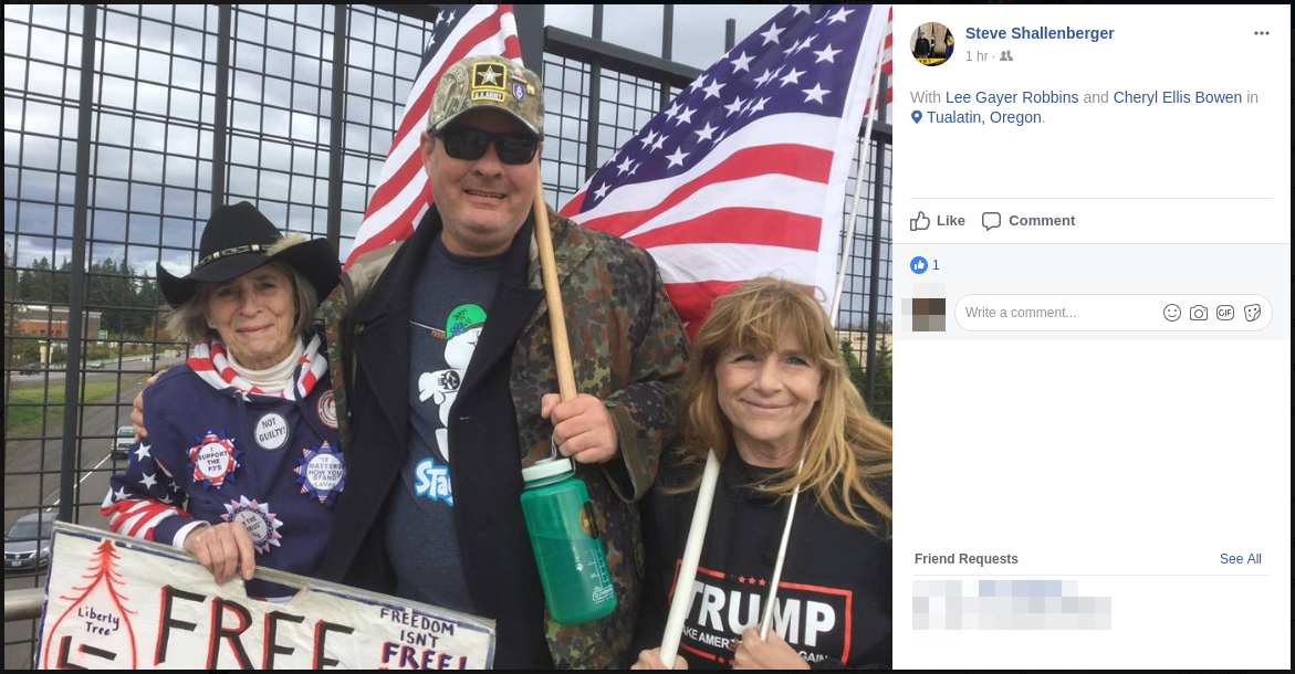 Cheryl Bowen and Lee Gayer Robbins pose for a veterans day selfie with American Front-affiliated fascist Steve Shallenberger