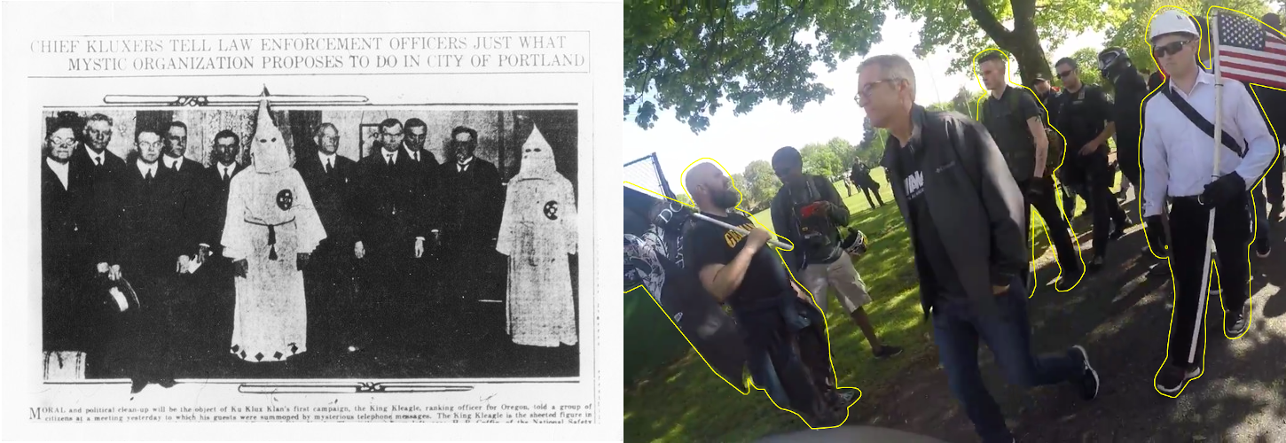 The mayor and police pose with white supremacists in two different eras