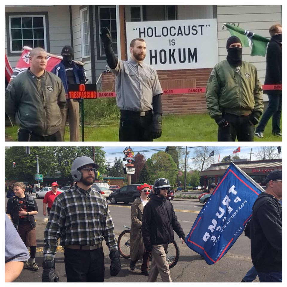 """""""Chad"""" throws a sieg heil at the home of nazi Jimmy Marr in Springfield OR on 4/24"""