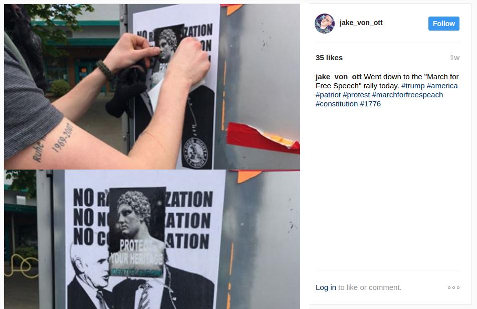 Jake Von Ott puts up white nationalist propaganda on NE 82nd Ave