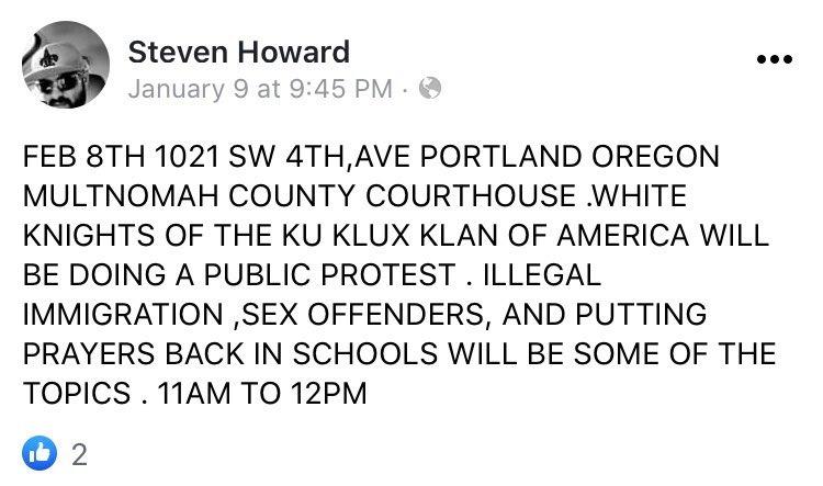 - IMAGE - Steven Shane Howard calls for KKK rally