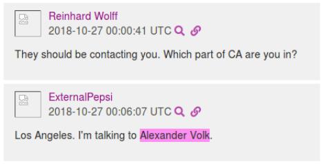 SoCal members refer to DeusVolk as @AlexanderVolk early on