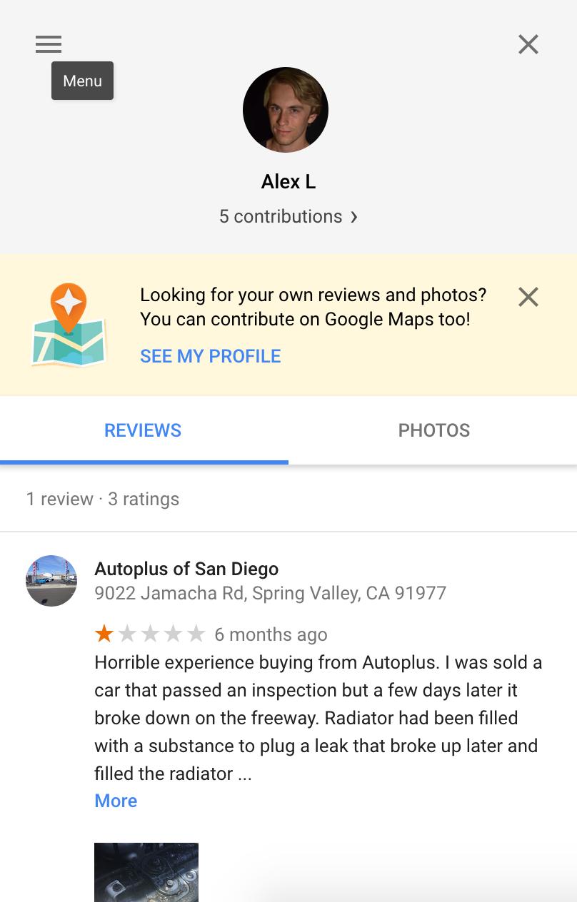 Google Reviews profile for Alex L