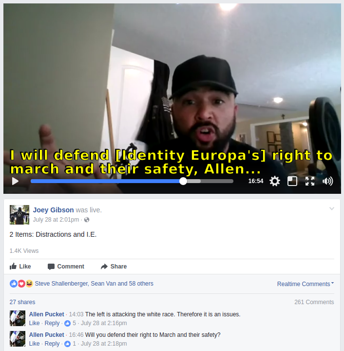 Joey Gibson promises to defend Identity Europa