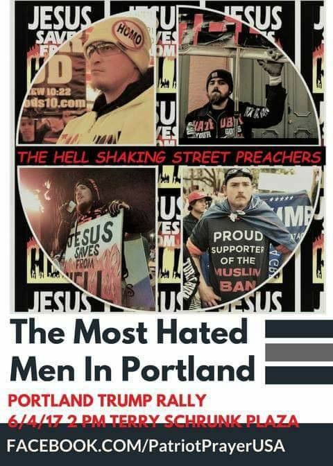 Joey Gibson advertises the Hell Shaking Street Preachers