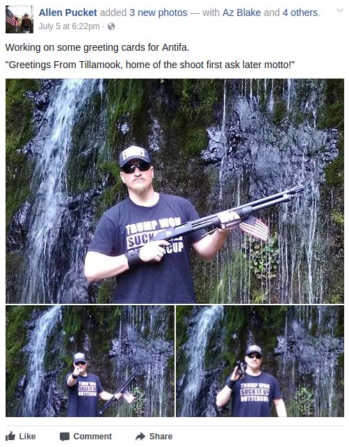 Allen Pucket threatens to shoot anti-fascists