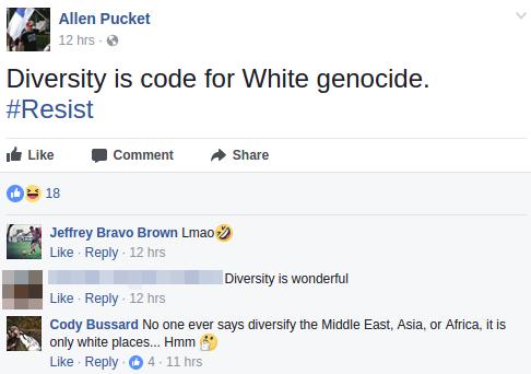 Allen Pucket recites neo-nazi slogans