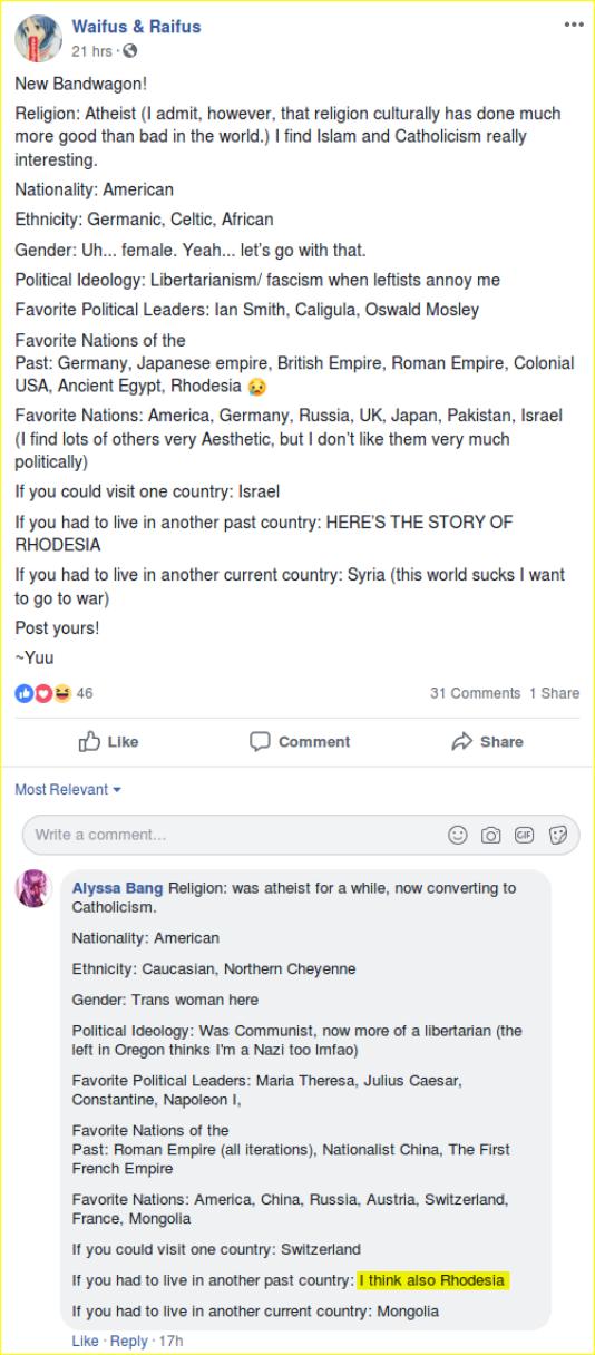 Vinsonhaler shares racist Rhodesia posts