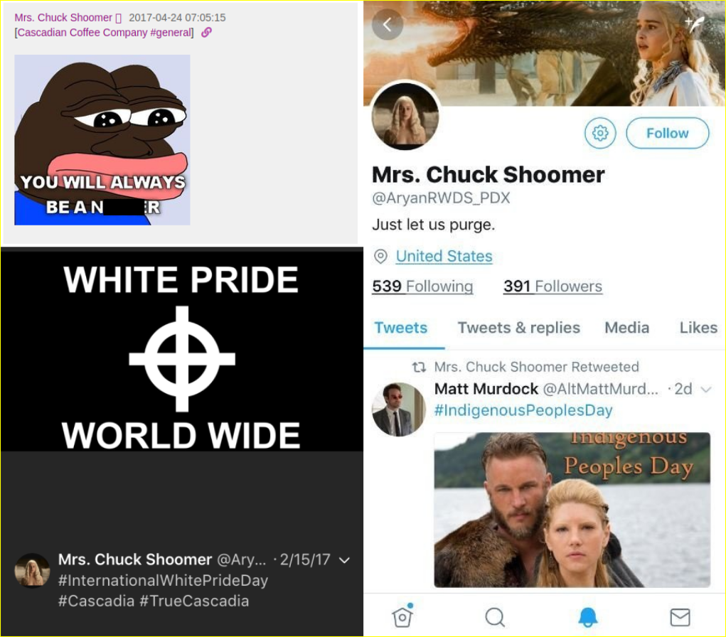 Racist posts by Mrs. chuck Schoomer