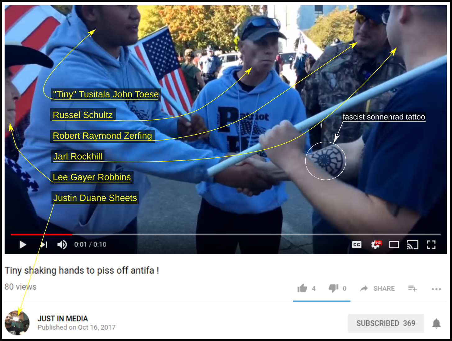 Justin Sheets films Tiny Toese shaking hands with neo-nazi Jarl Rockhill.