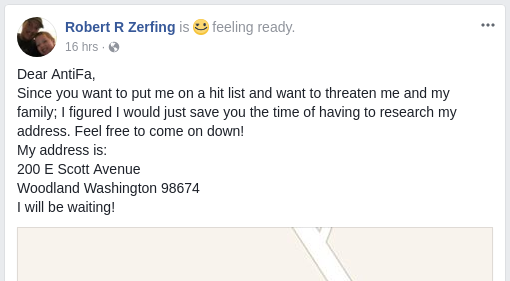 along with other Patriot Prayer members, Robert Zerfing pretended that a do-not-serve list was some sort of