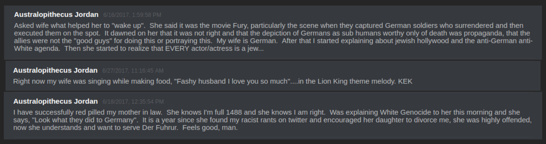 deedub claims his wife is amenable to nazi ideology