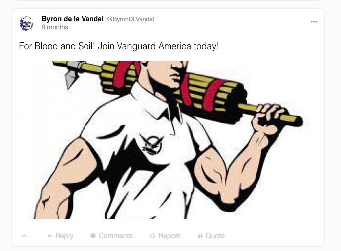 Byron De La Vandal encourages his followers to join Vanguard America