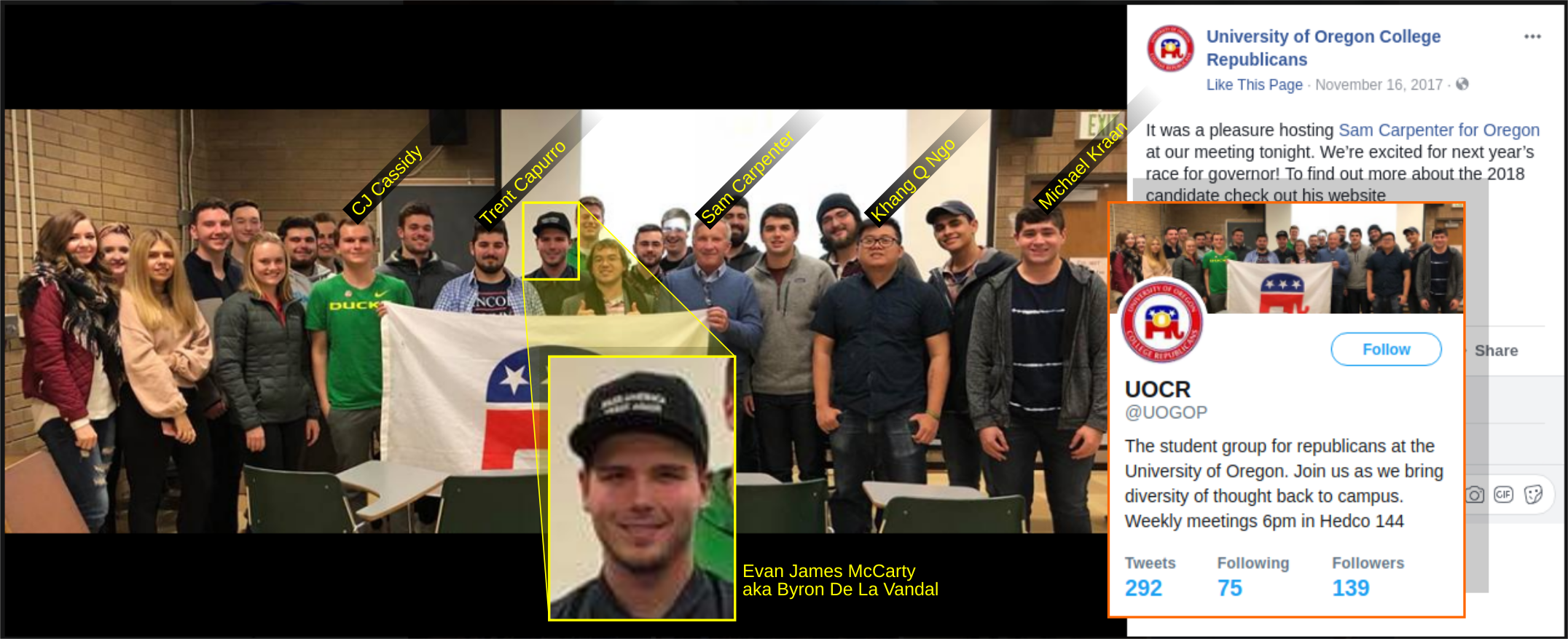 Evan McCarty with UO College Republicans