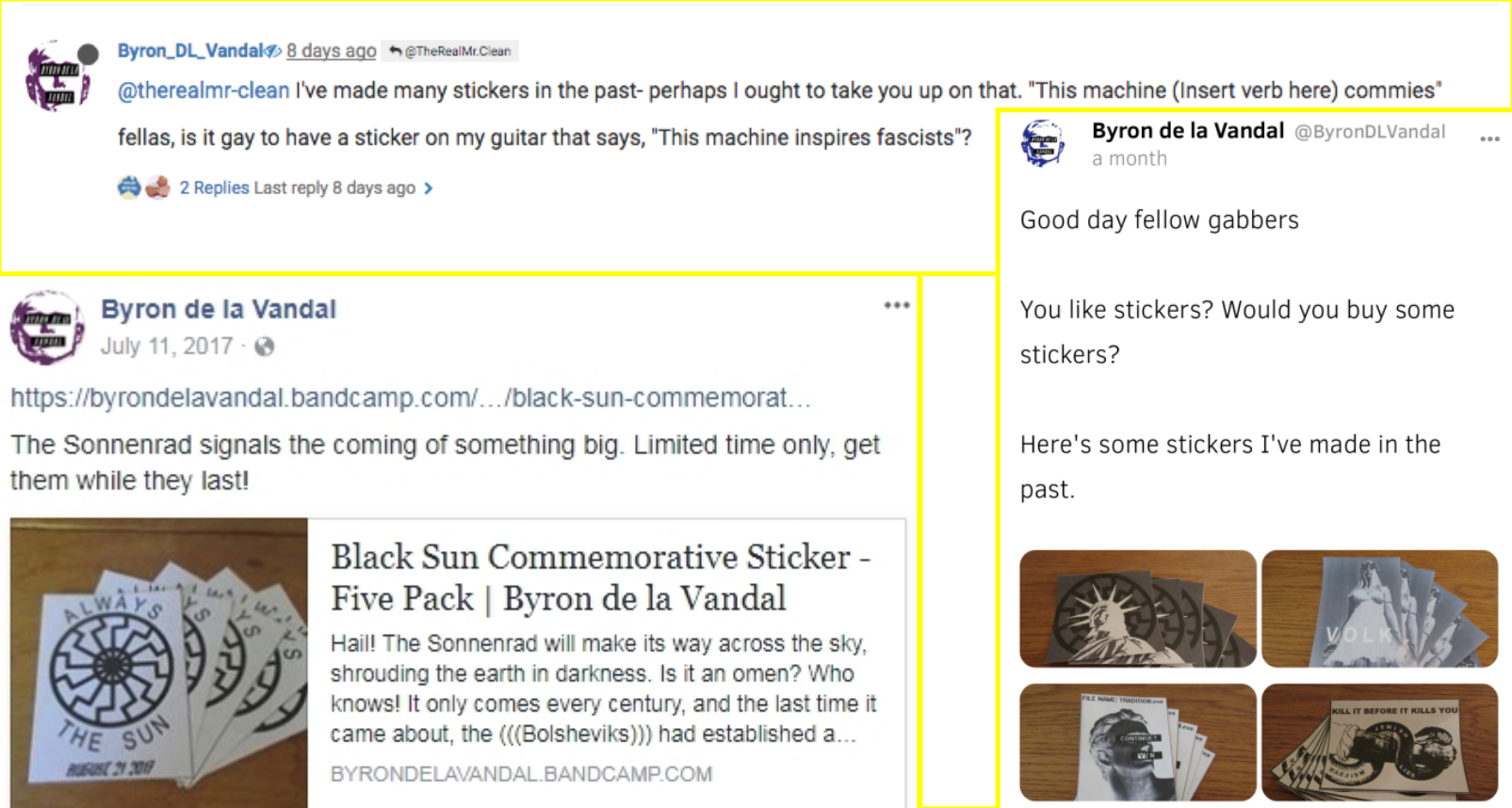 Byron de la Vandal offers to sell stickers over the internet