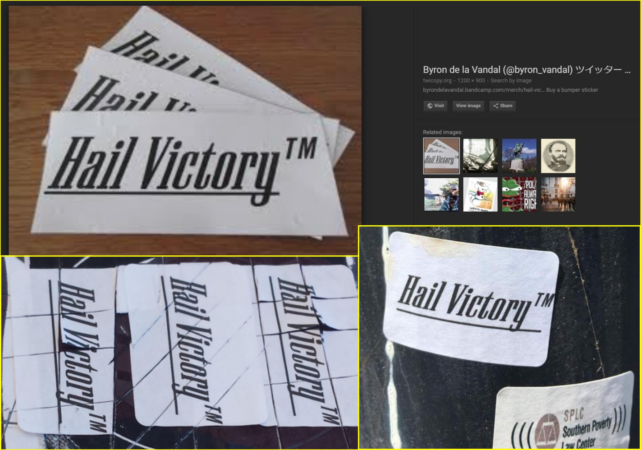 Byron de la Vandal Nazi slogan stickers