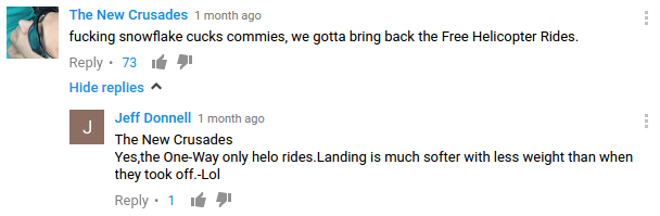 youtube commenters joking about murdering their political enemies by dropping them from helicopters