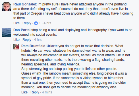 Pam Brumfield-Uriarte performs elaborate contortions of logic to pretend that someone who openly displays nazi iconography is not a threat to minorities