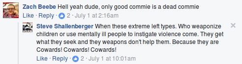 Two participants in Joey Gibson's 6/30 rally engage in red baiting targeting people who they perceive as communists
