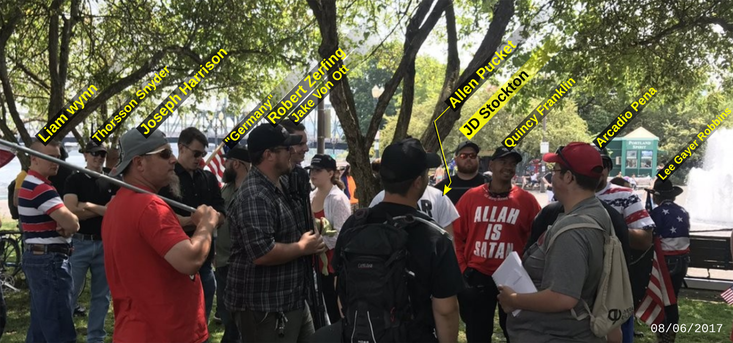 JD Stockton attends a Patriot Prayer hate rally