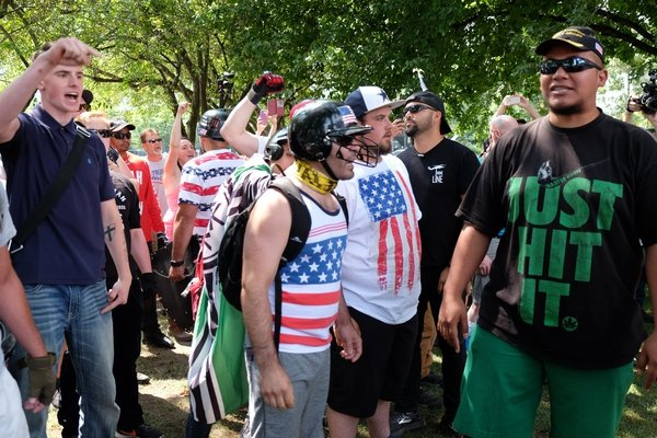 Jacob Ott rallies with Joey Gibson and members of the Patriot Prayer organization on August 6th.