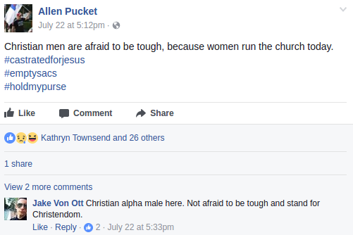 Jacob Ott validating the misogynist rhetoric of local white nationalist Allen Pucket