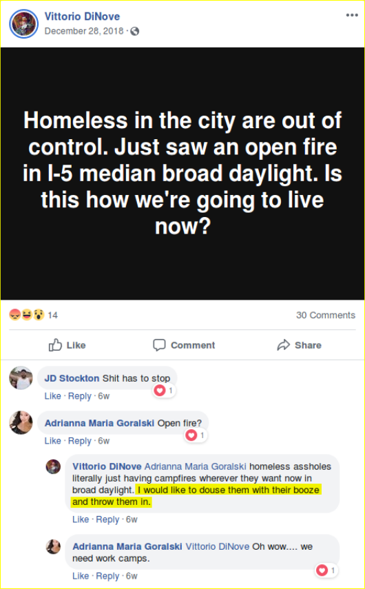Kim Costello would like to burn houseless Portland residents to death.