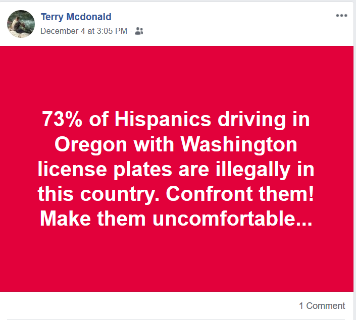 Foster wants people to harass hispanic drivers