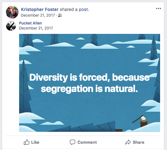 Foster shares a white nationalist