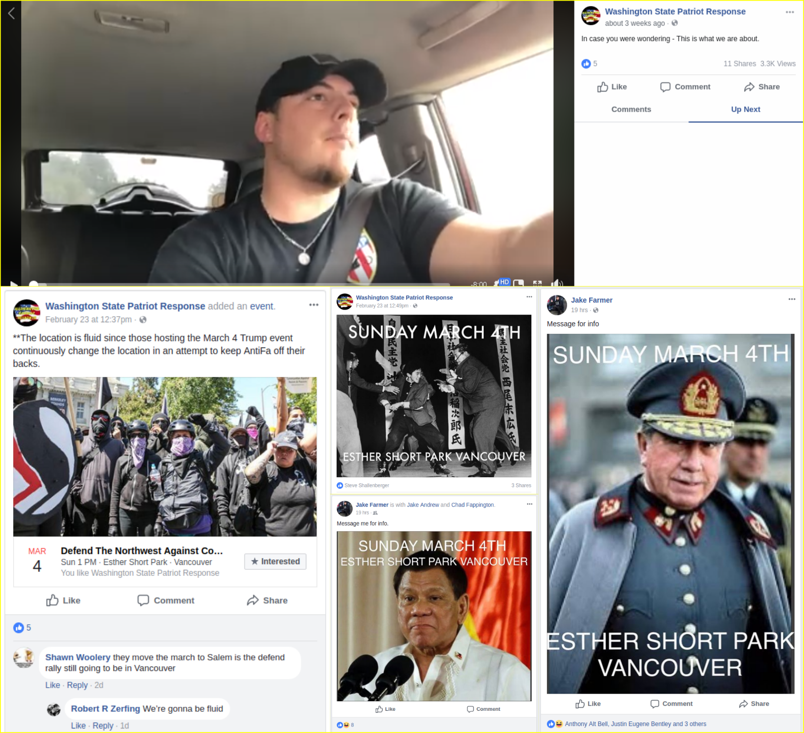 Washington State Patriot Response threatens fascist violence and murder on facebook
