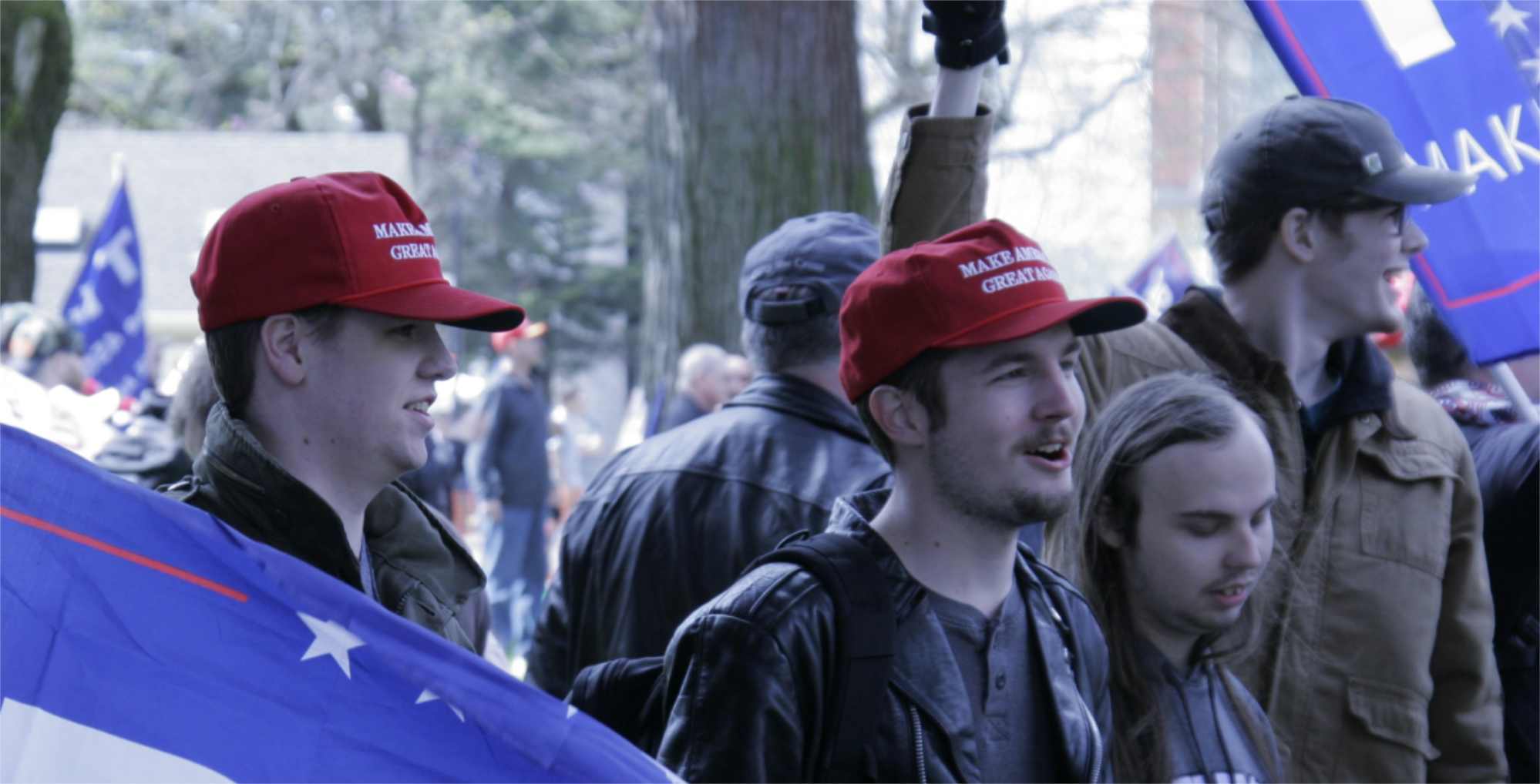 Trump supporters mingled with fascists at rallies in Vancouver and Lake Oswego early in 2017