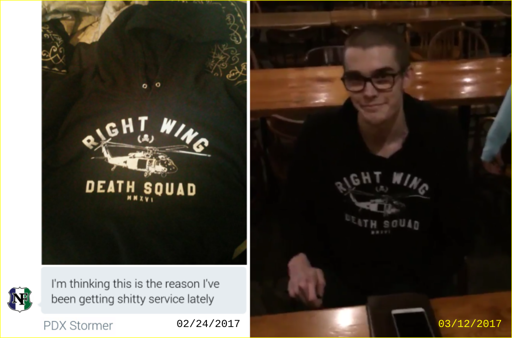 Matt Blais wears a Right Wing Death Squads hoodie
