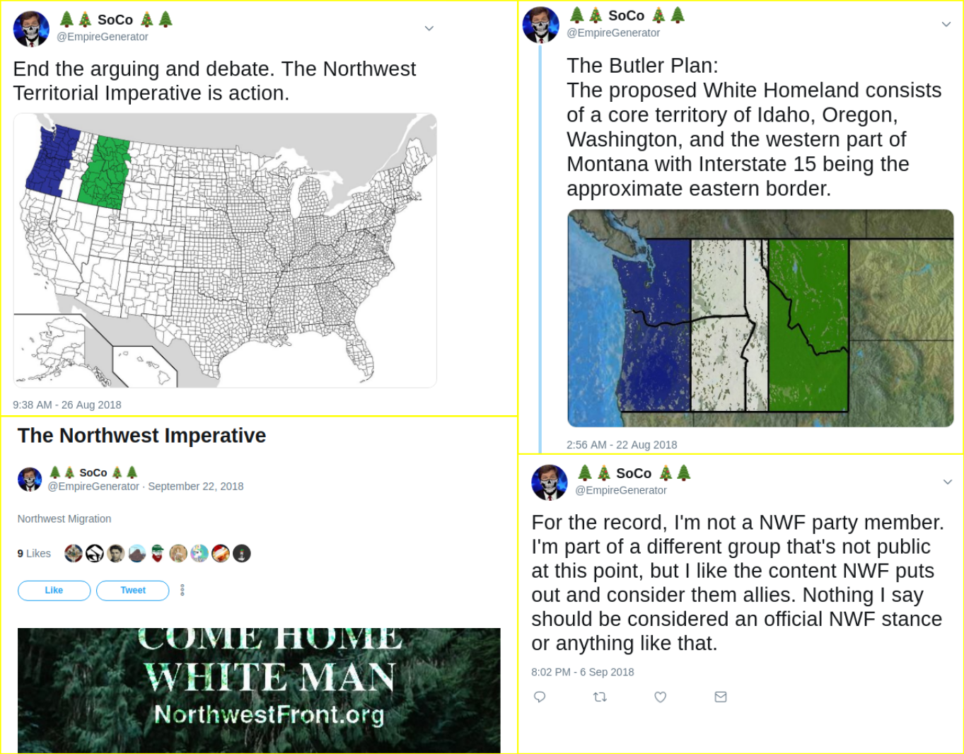 Matt Blais propagandizes for the Northwest Front