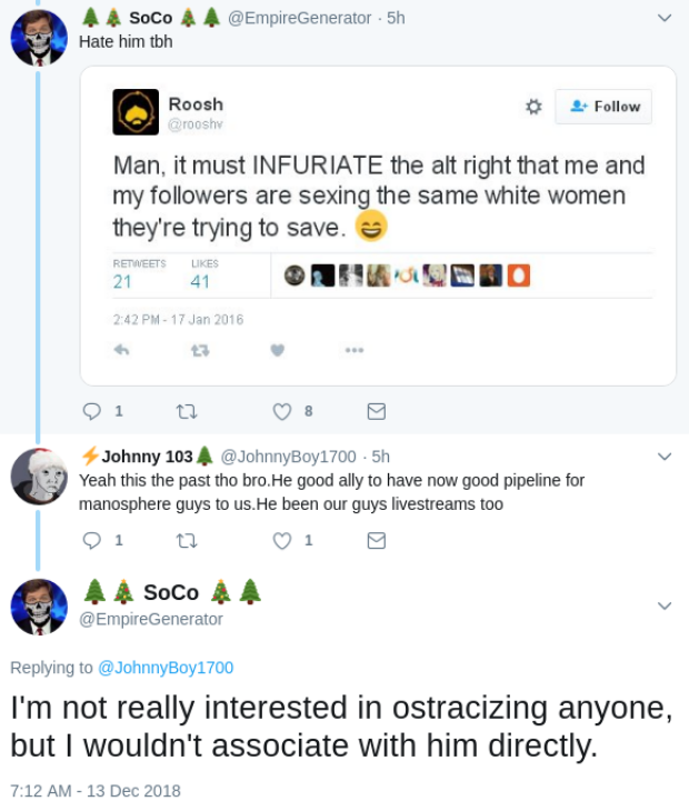 Blais and a Twitter follower discuss MRA as entry point into neo-Nazi beliefs