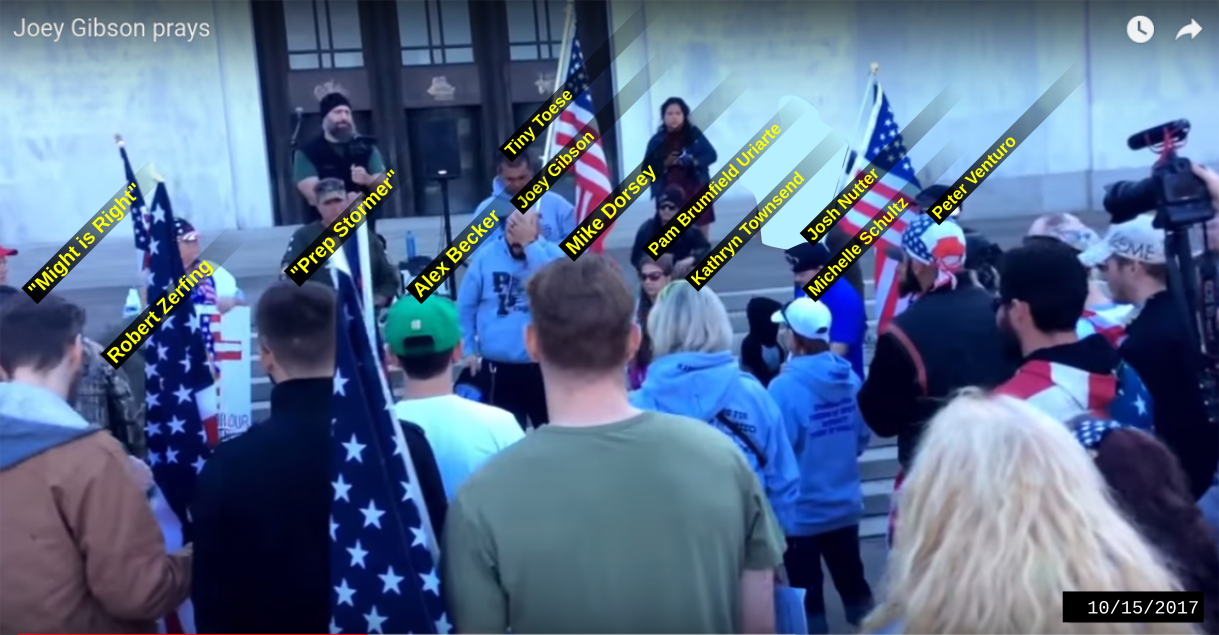 Dorsey and PDX stormers with Patriot Prayer