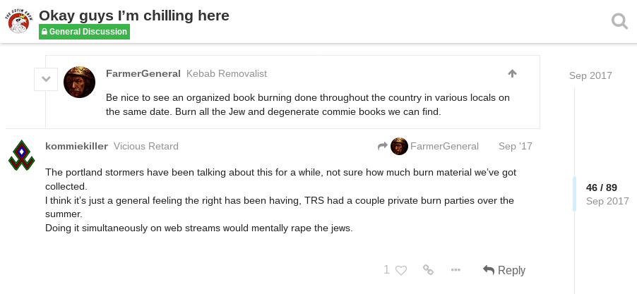 Daily Stormer Post about book burning