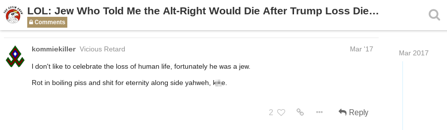 anti-semetic Daily Stormer Post