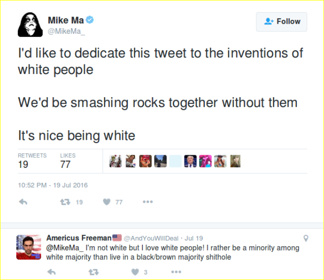 Mahoney engages in the discourse of White Pride