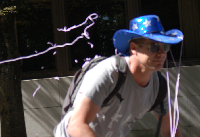 One of the few Patriot Prayer followers who showed his fawning face in Portland on 9/10 retreats in dismay