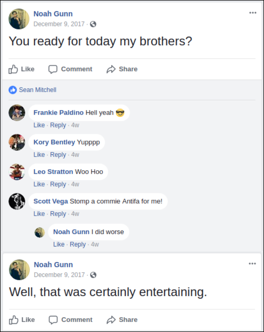Noah Gunn boasts on facebook about doing violence