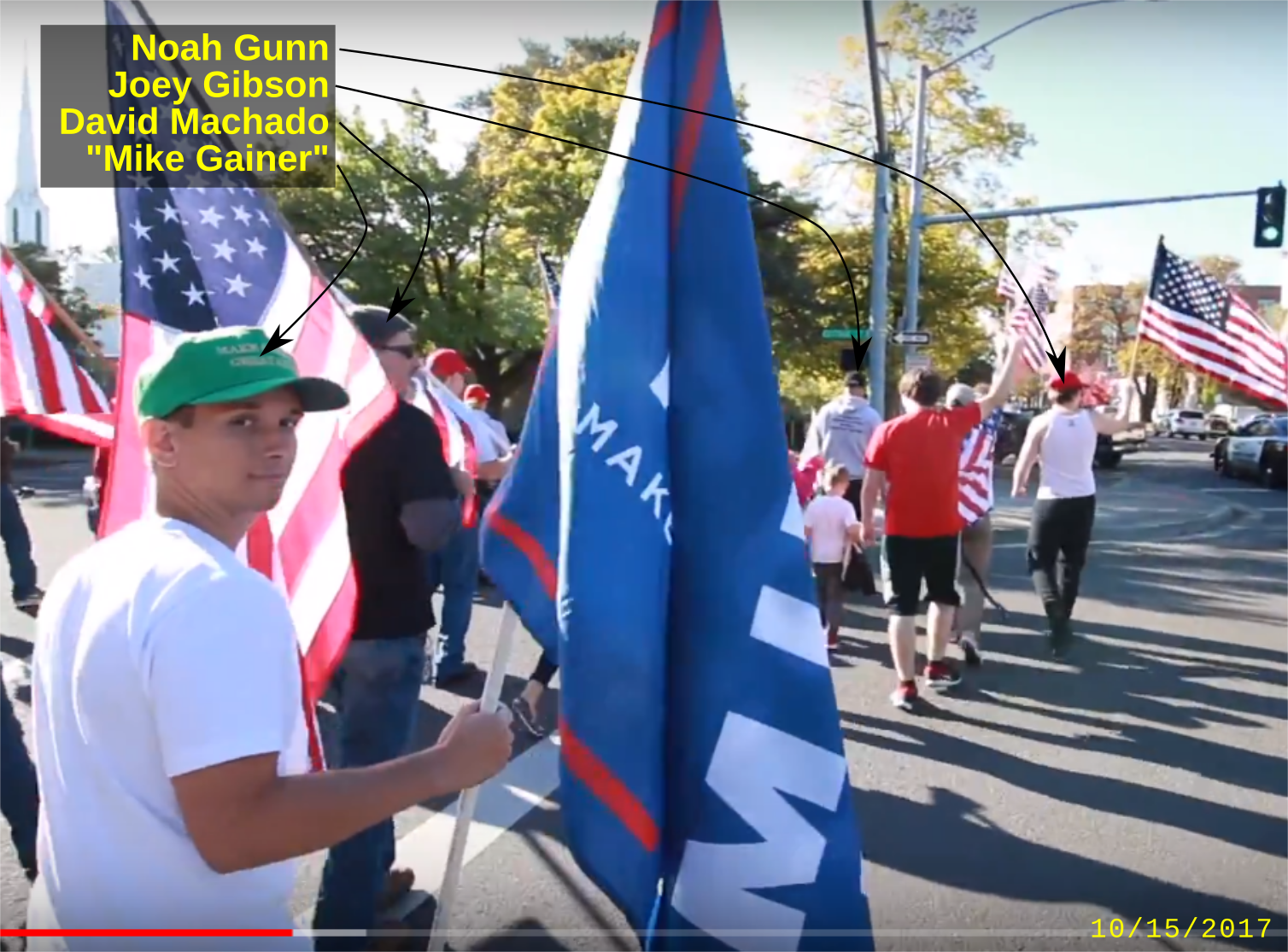 Noah Gunn at a Patriot Prayer rally with fascists