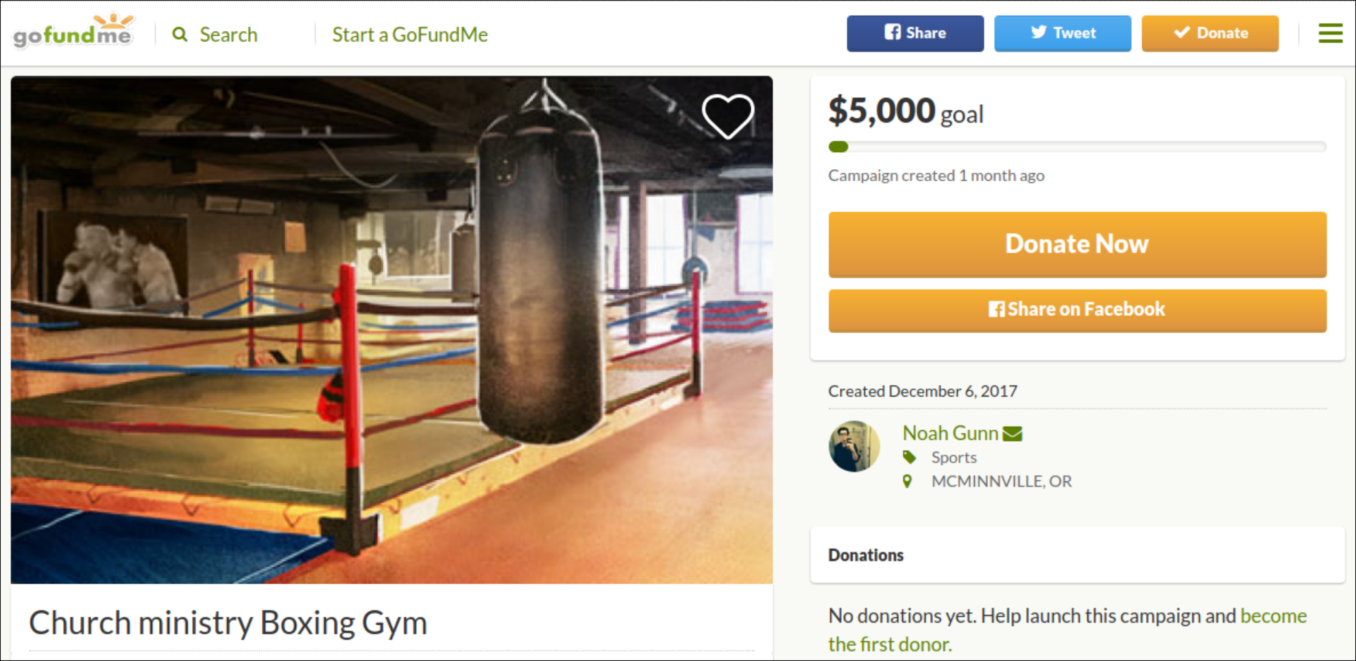 Noah Gunn attempts to raise money for a boxing gym
