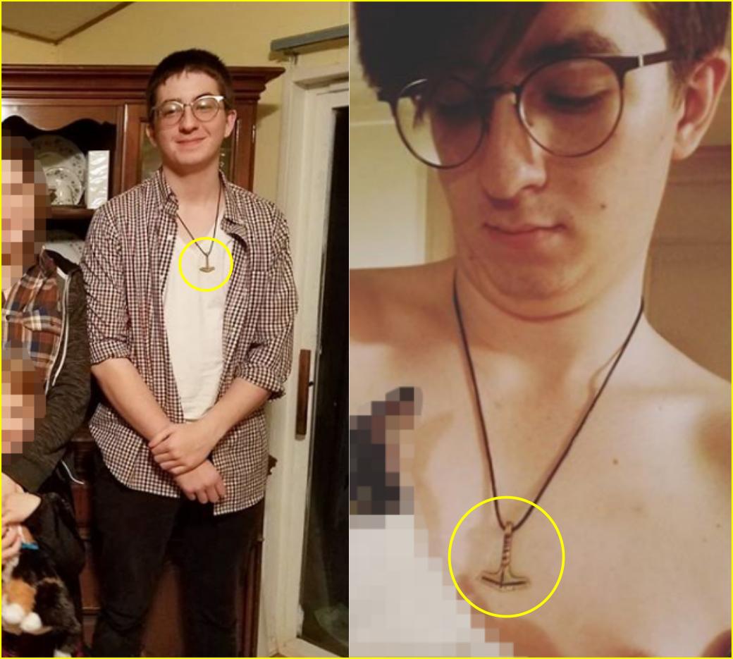 Noah Gunn wears a fascist symbol