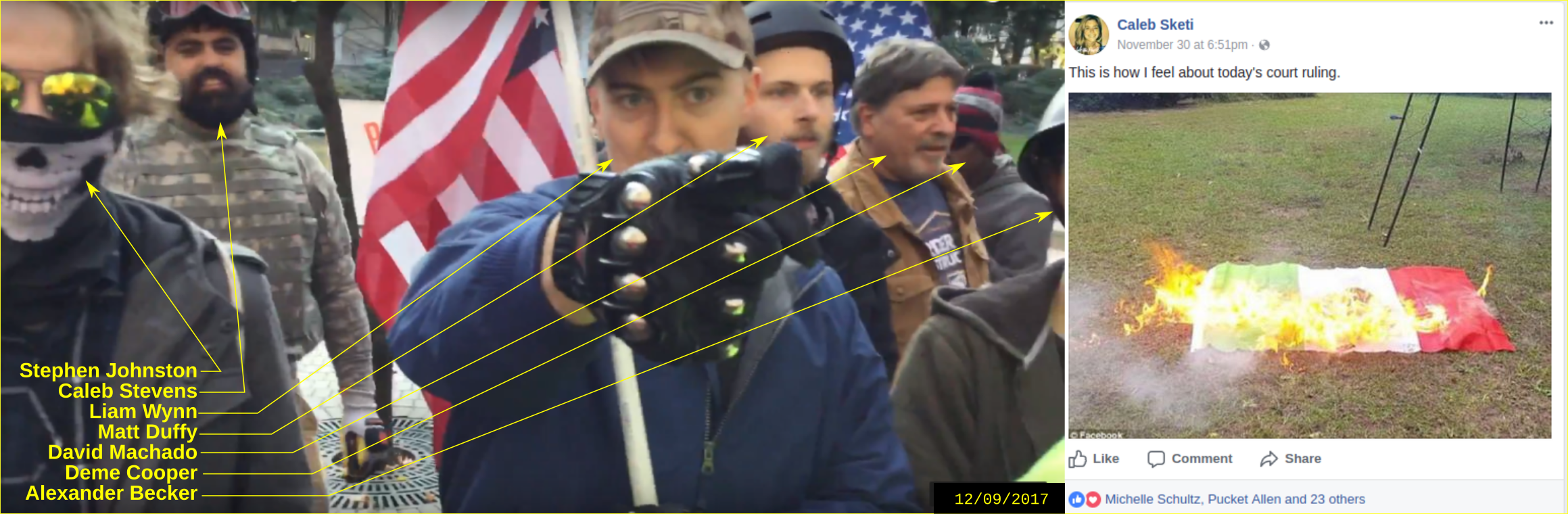 Caleb Stevens participates in an anti-immigrant hate rally