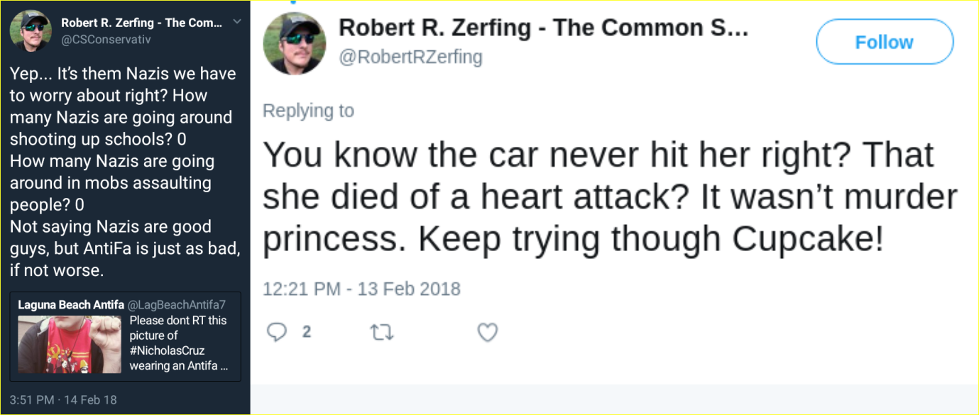 Robert Zerfing spreads fake news