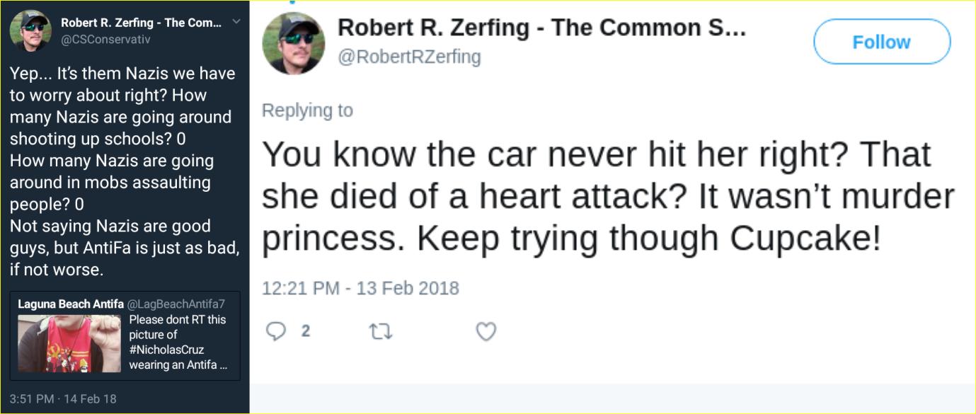 Robert Zerfing spreads fake news