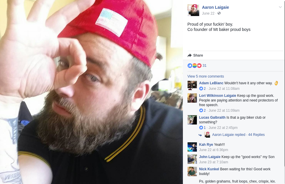 Aaron Laigaie is a Proud Boy