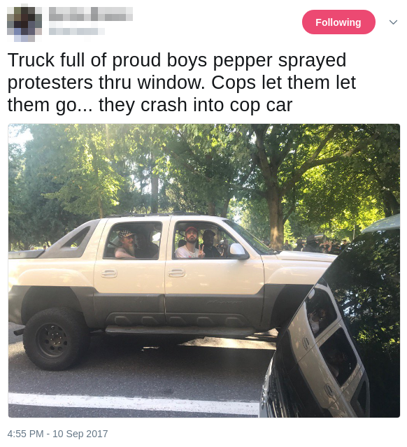 Proud Boy truck crashes into cop car after Patriot Prayer rally