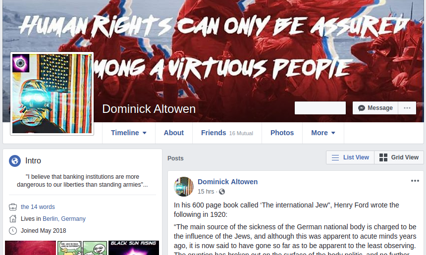Dominick Owen is a fascist