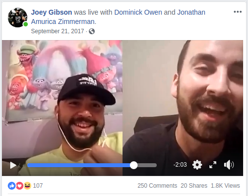 Dominick Owen does a facebook live interview with Joey Gibson